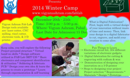 Digital Fabrication winter camp (Fab-Lab) @ Vigyan ashram, Pabal campus.